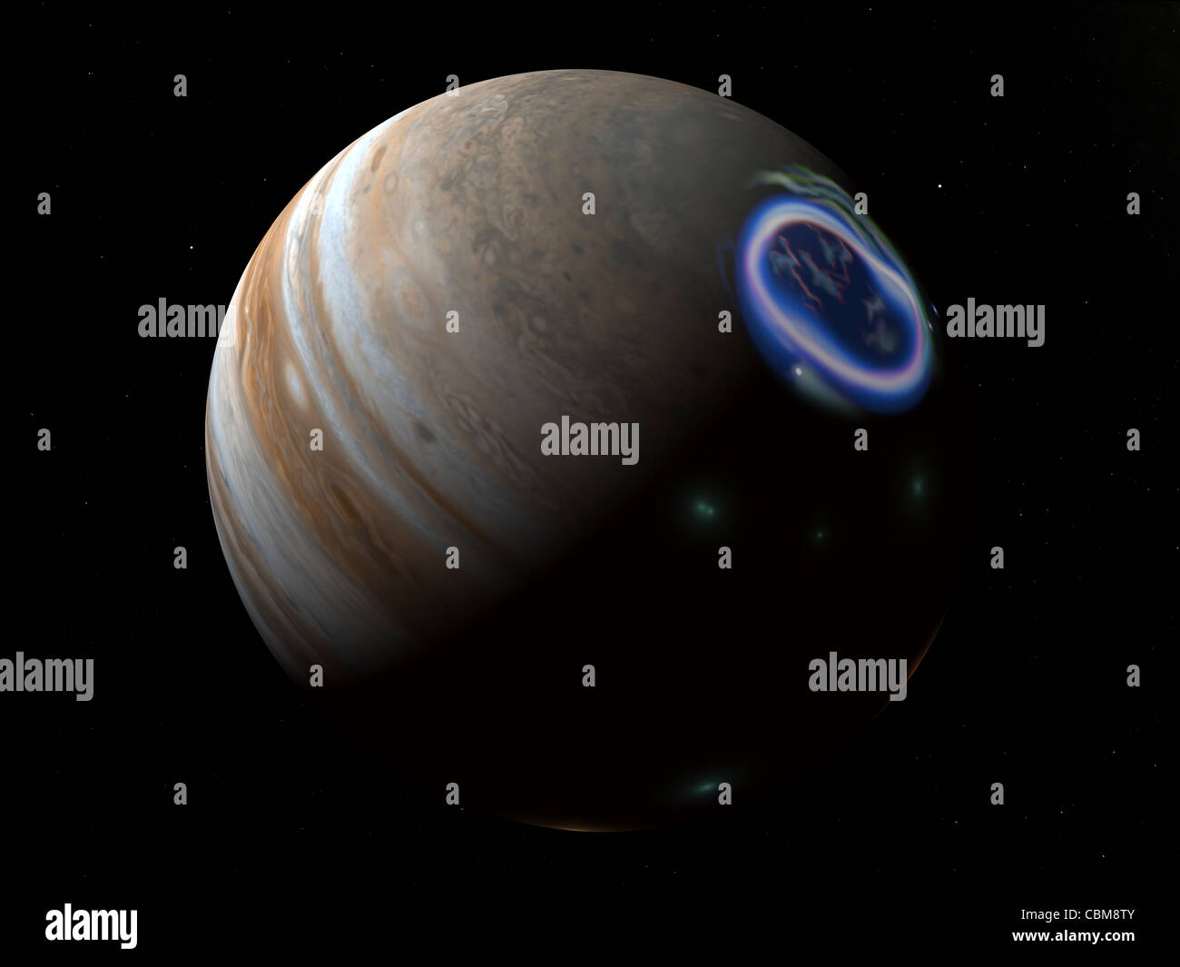 Artist's concept of an aurora on Jupiter's north pole. - Stock Image