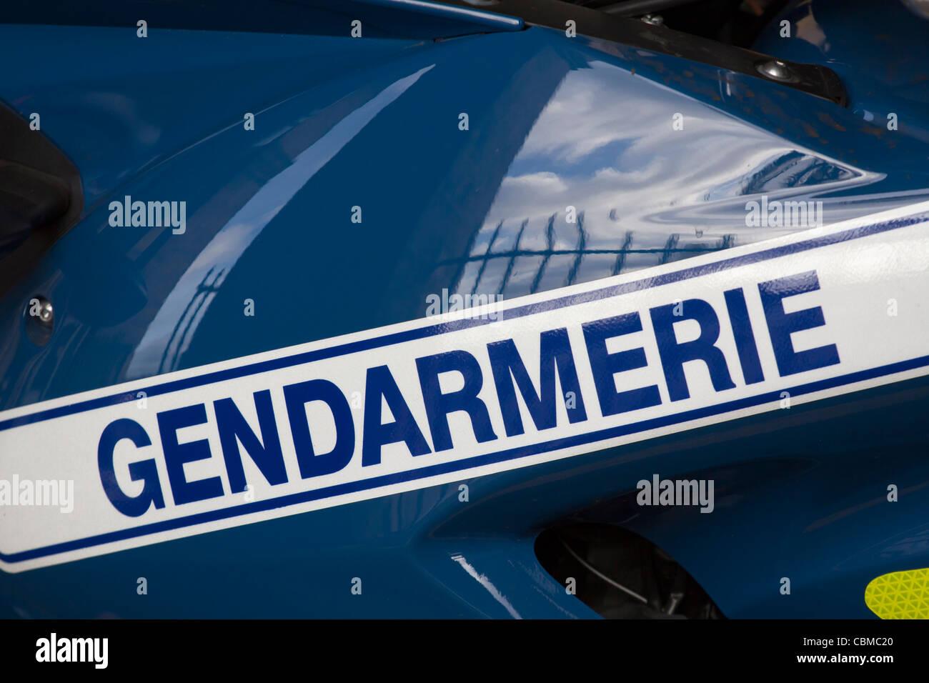 Detail from gendarme's motorbike, Paris, France - Stock Image