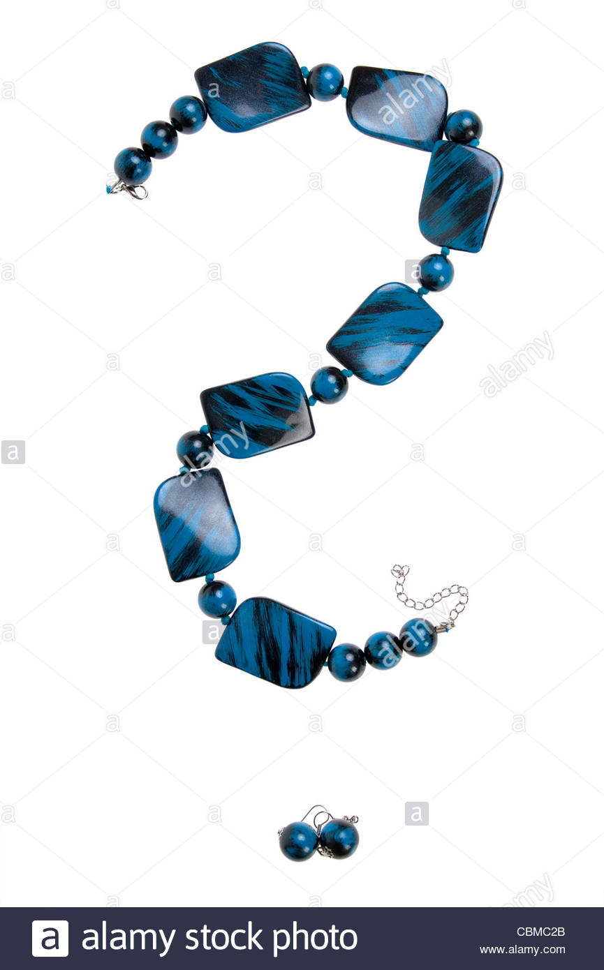question mark - blue necklace isolated on white - Stock Image