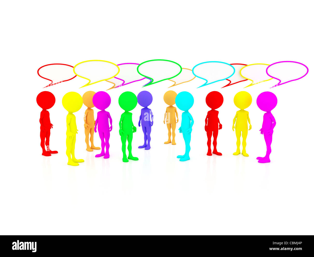 several people sharing their opinions and voicing concerns and criticism to communicate their thoughts - Stock Image