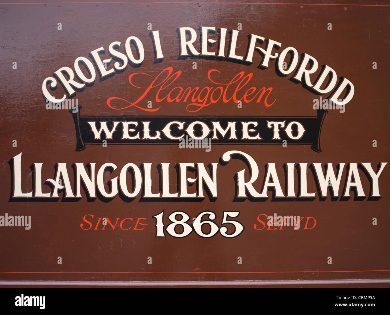 Llangollen Railway sign Denbighshire Wales Stock Photo