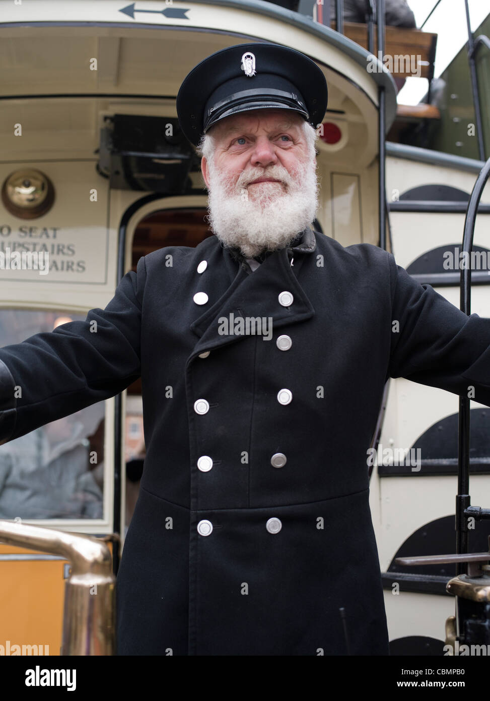 Tram conductor. Beamish, The North of England Open Air Museum County Durham ENGLAND - Stock Image