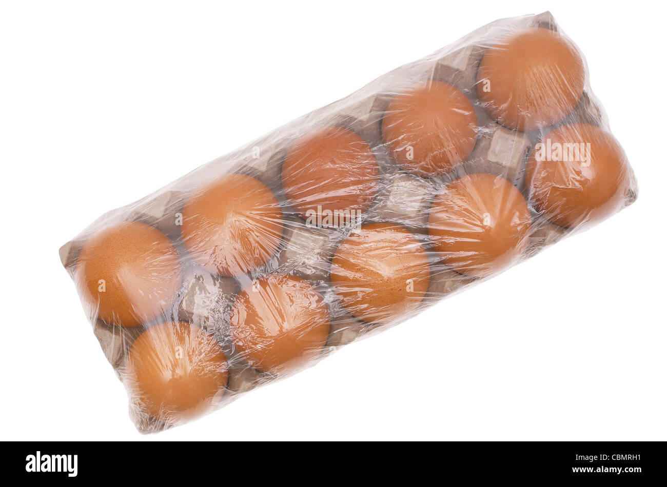 Eggs packed by transparent plastic. - Stock Image