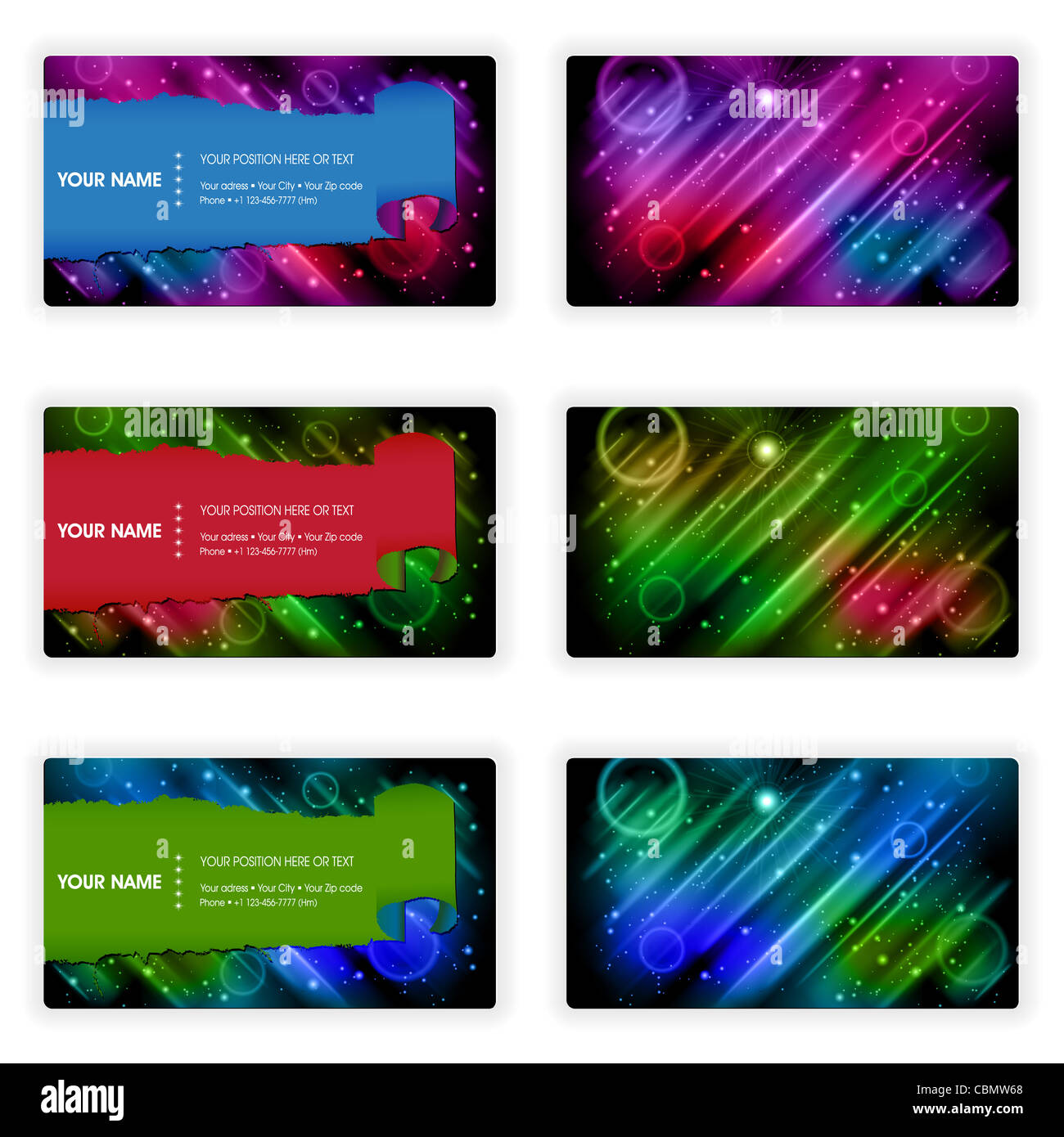 Collect Business Cards with aurora borealis in Different Colors, element for design, vector illustration - Stock Image