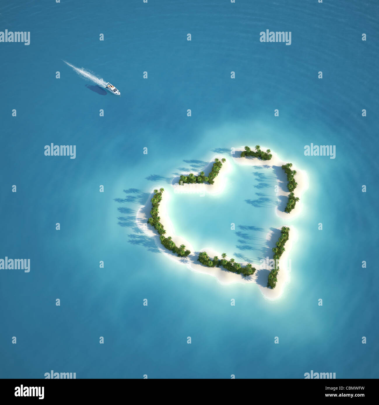 yacht heading to heart shaped island seen from the air concept for romantic vacation or valentines Stock Photo
