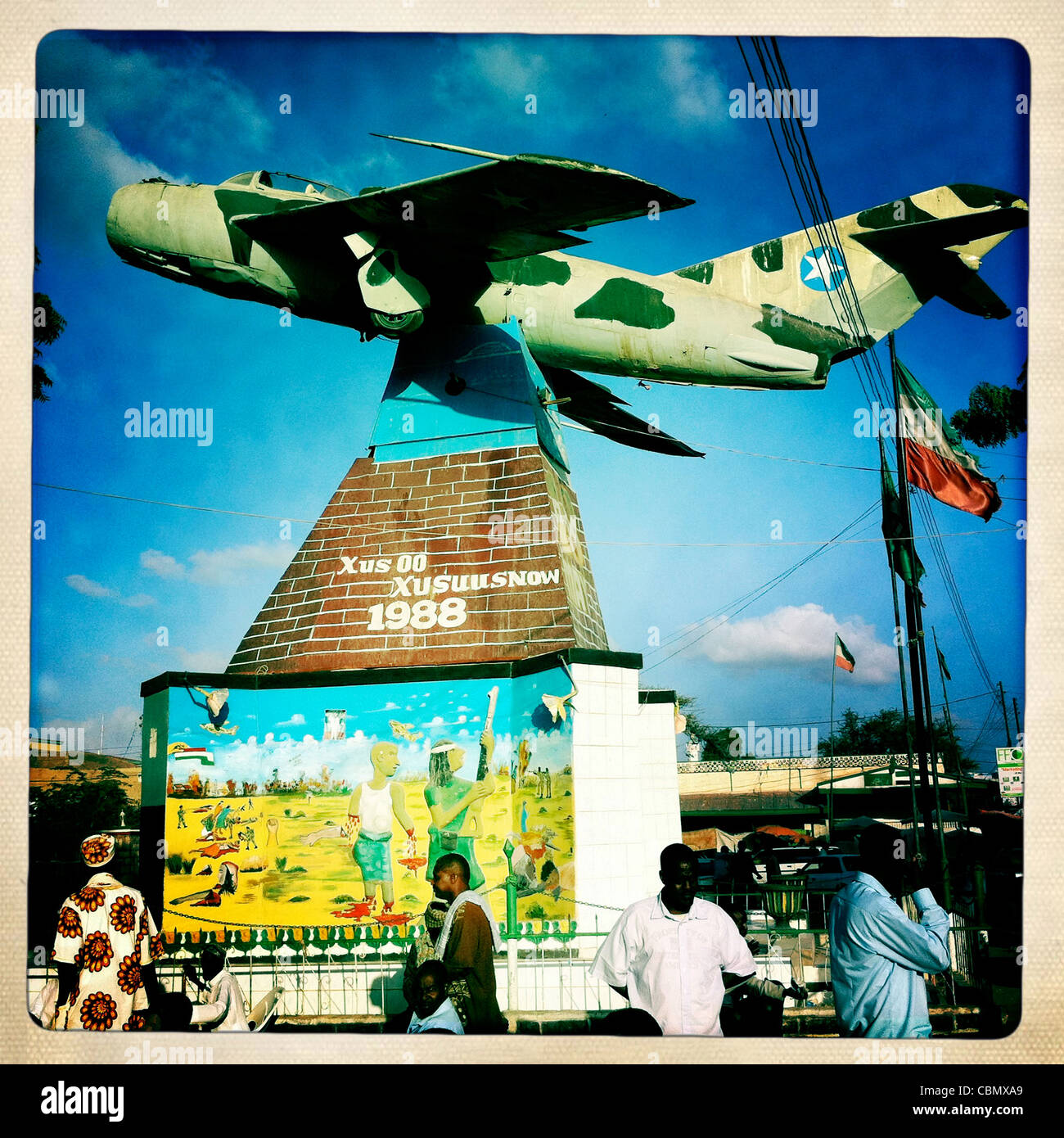 Fighter Jet Plane At The Entrance Of War Memorial Museum In Hargeisa Somaliland - Stock Image