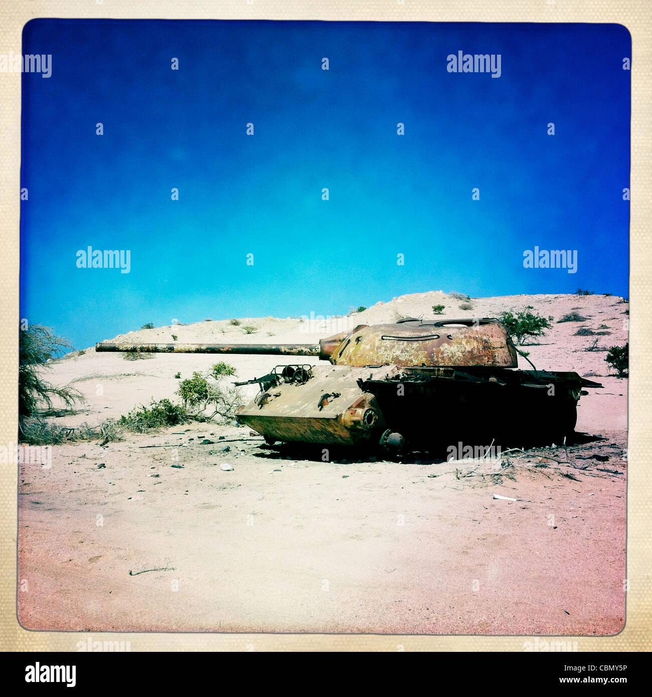 Abandoned Russian Tank In The Desert Near Berbera Somaliland - Stock Image