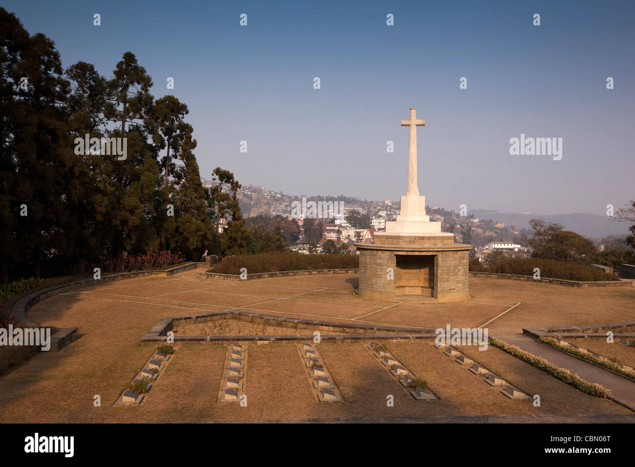 India Nagaland Kohima War Cemetery On Site Of Tennis Court Stock