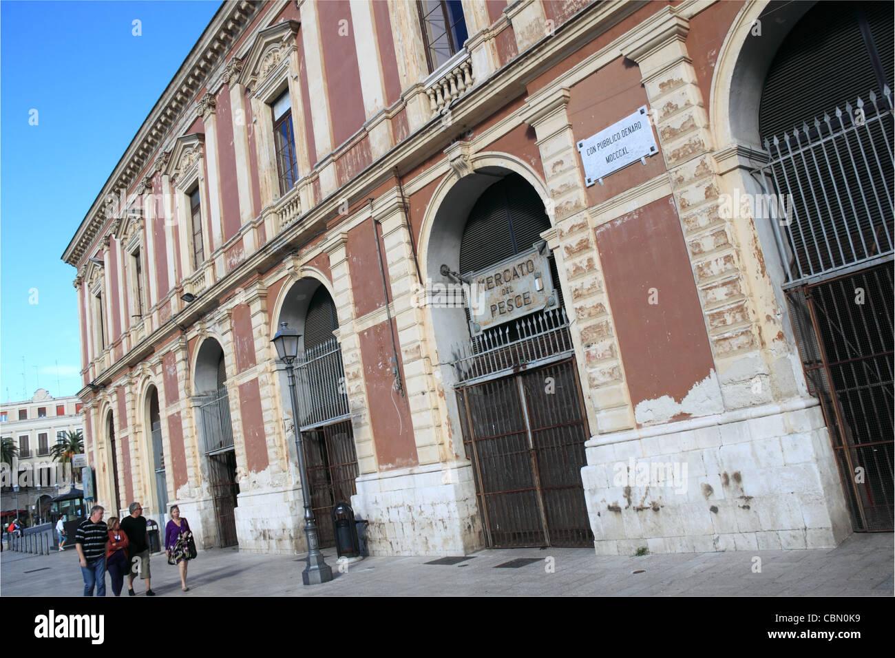 Old indoor fish market building, Mercato del Pesce, Bari, Apulia, Puglia, Italy, Italia, Italie, Adriatic Sea, Europe - Stock Image