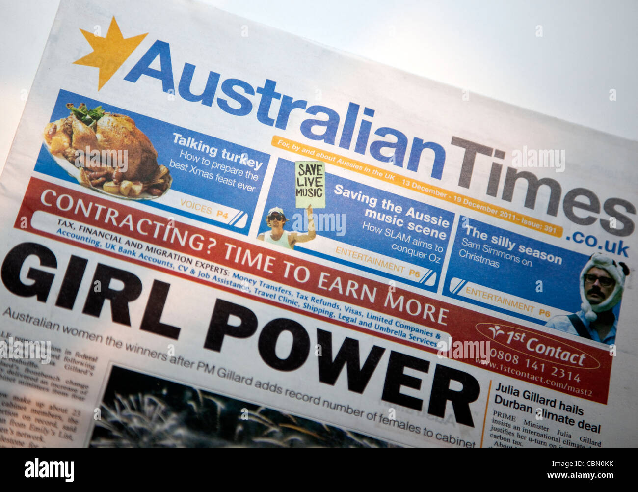 The Australian Times free weekly newspaper for Aussies in the UK, London - Stock Image