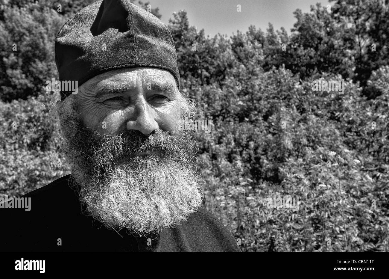 Portrait of Russian Orthodox priest in hat in country of Lviv Ukraine - Stock Image