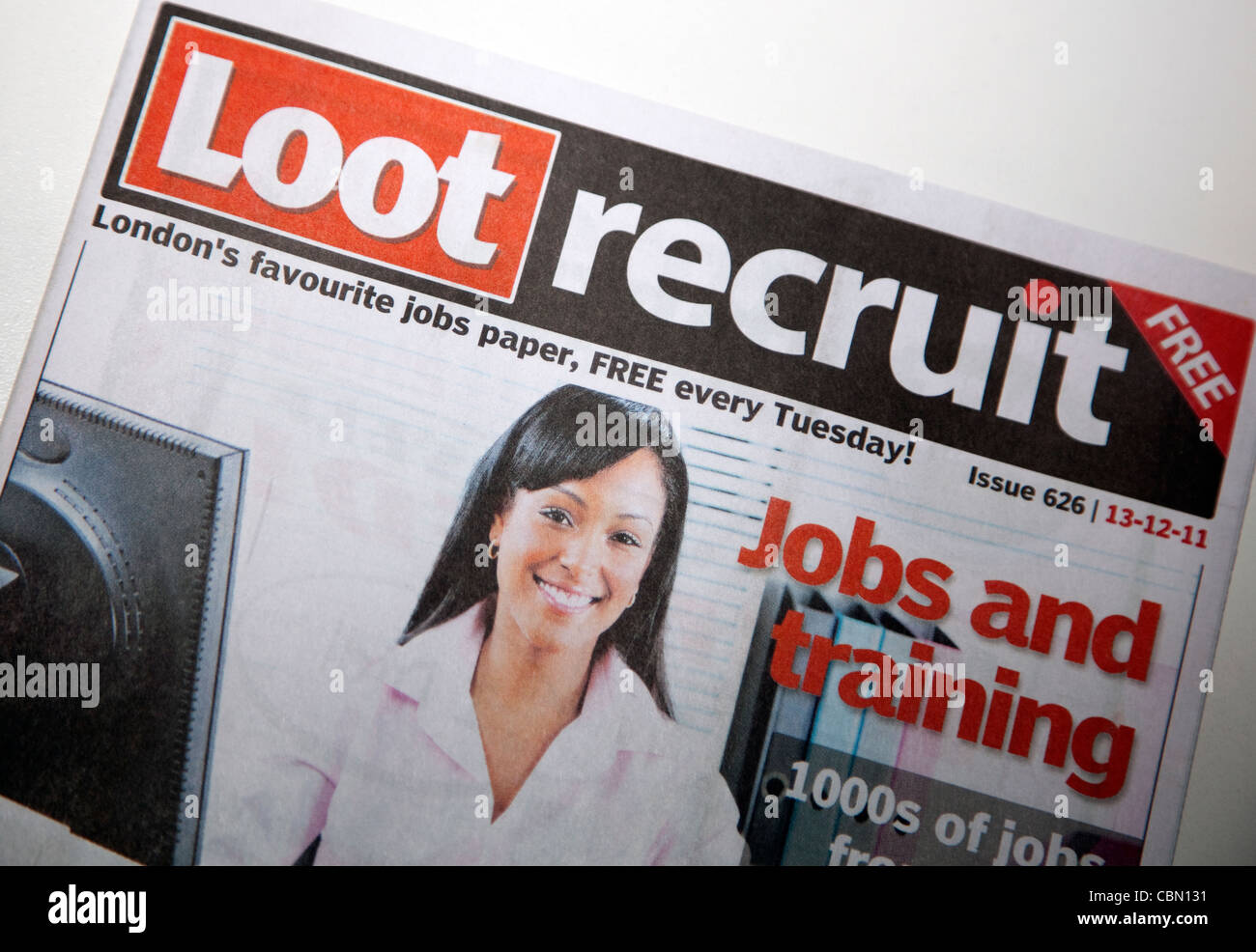 Loot Recruit free weekly jobs paper, London - Stock Image