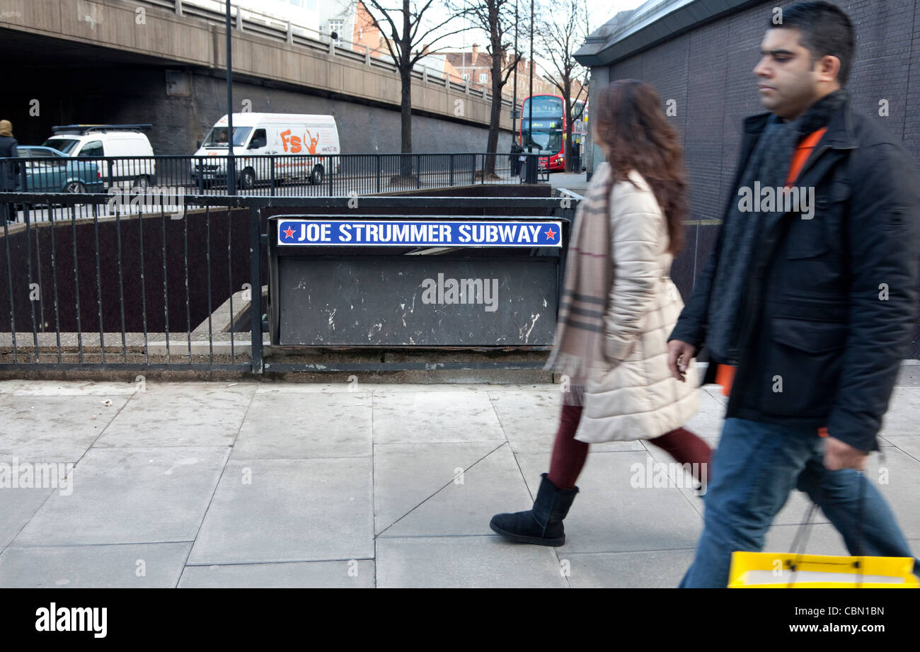 Subway under Edgware Road, London named after Joe Strummer of The Clash - Stock Image