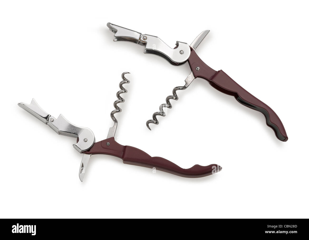 corkscrew isolated on a white background. Studio photo (clipping path) - Stock Image