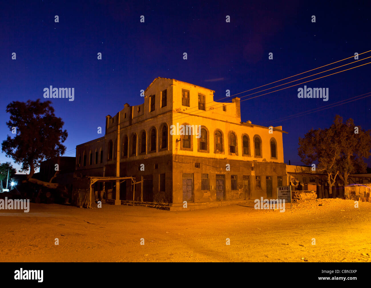 Former Ottoman Empire House No People By Night Berbera Somaliland - Stock Image