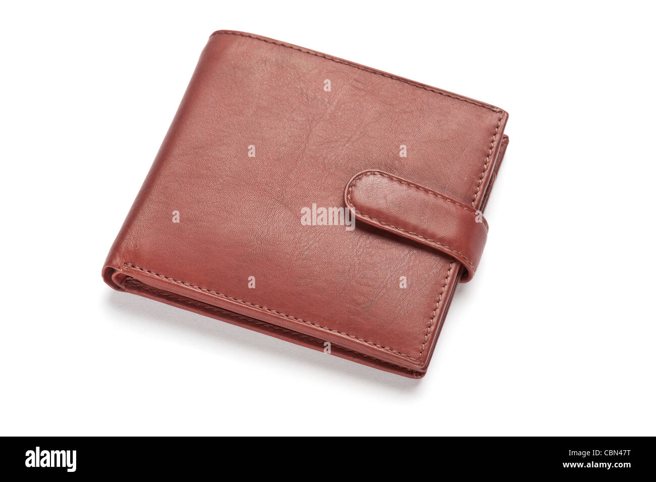 A brown leather wallet, close-up - Stock Image