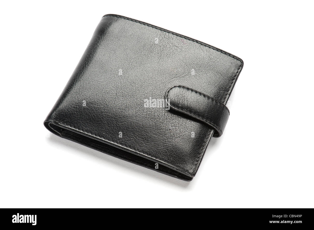 A black leather wallet, close-up - Stock Image