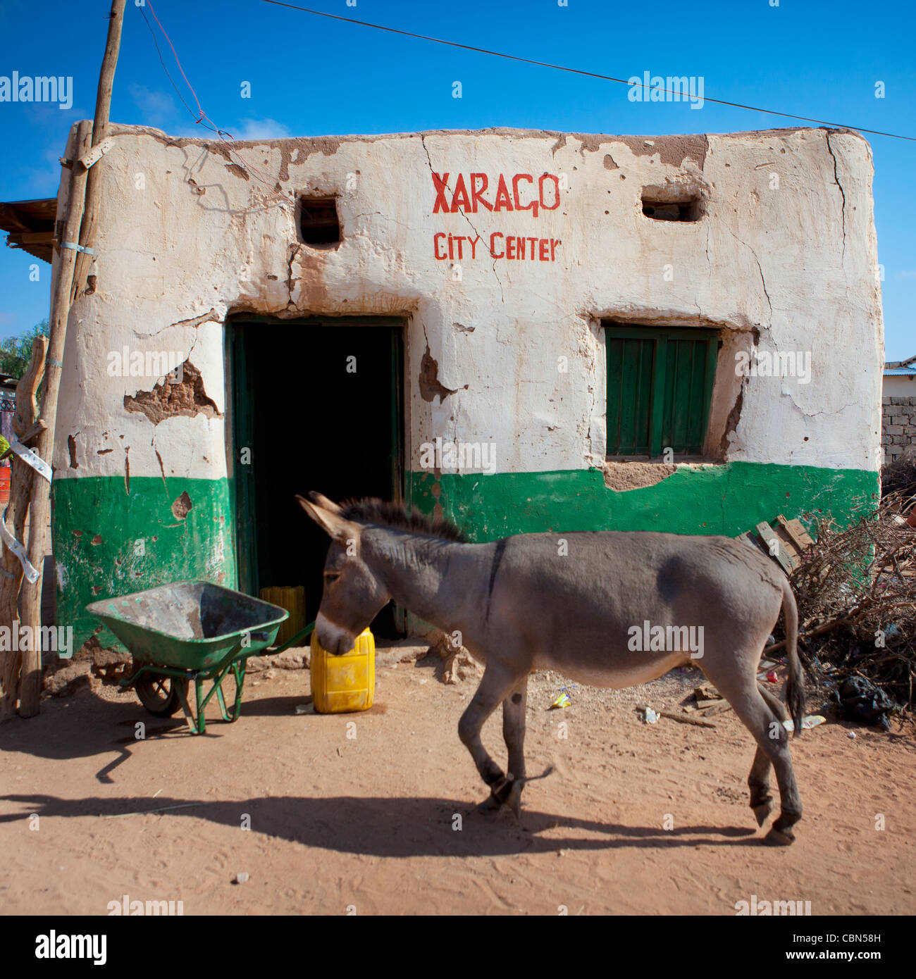 A Wandering Mule Passing By Decrepit House In Center Of Baligubadle Somaliland - Stock Image