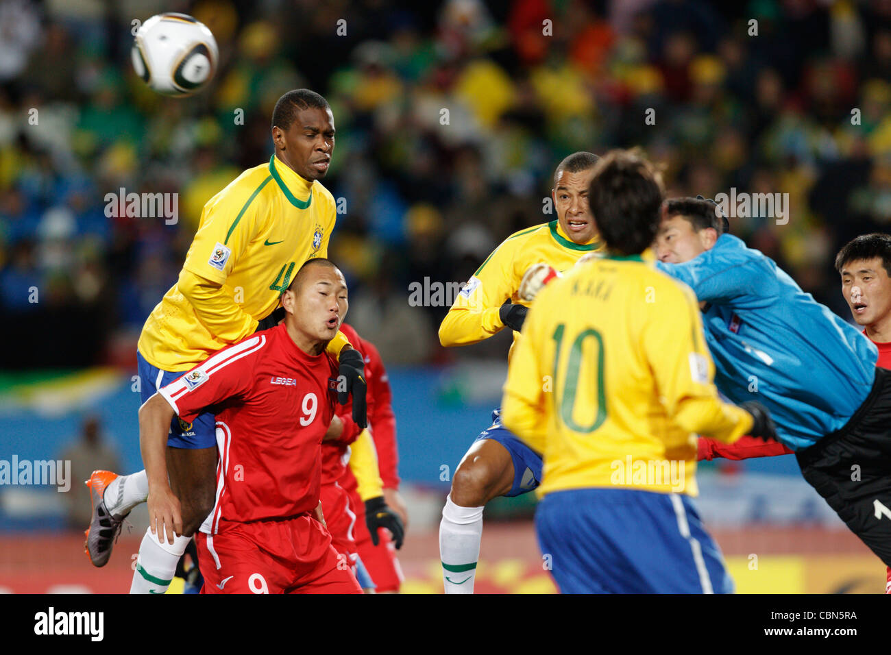 North Korea goalkeeper Myong Guk Ri punches the ball away during a FIFA World Cup match against Brazil at Ellis - Stock Image