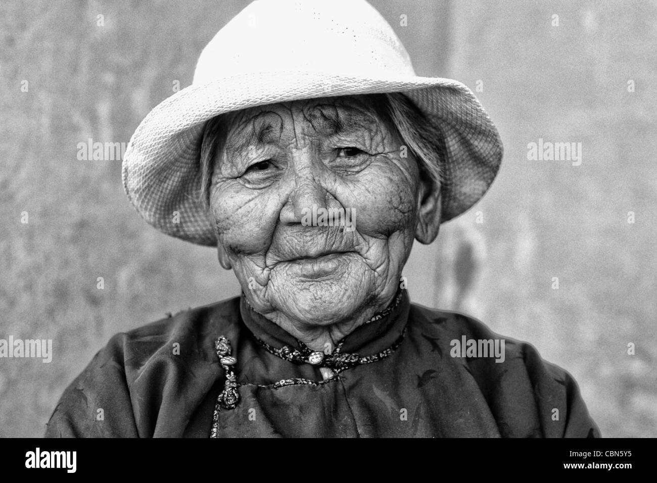 Colorful Old Native Woman Ulaan Baatar Mongolia - Stock Image