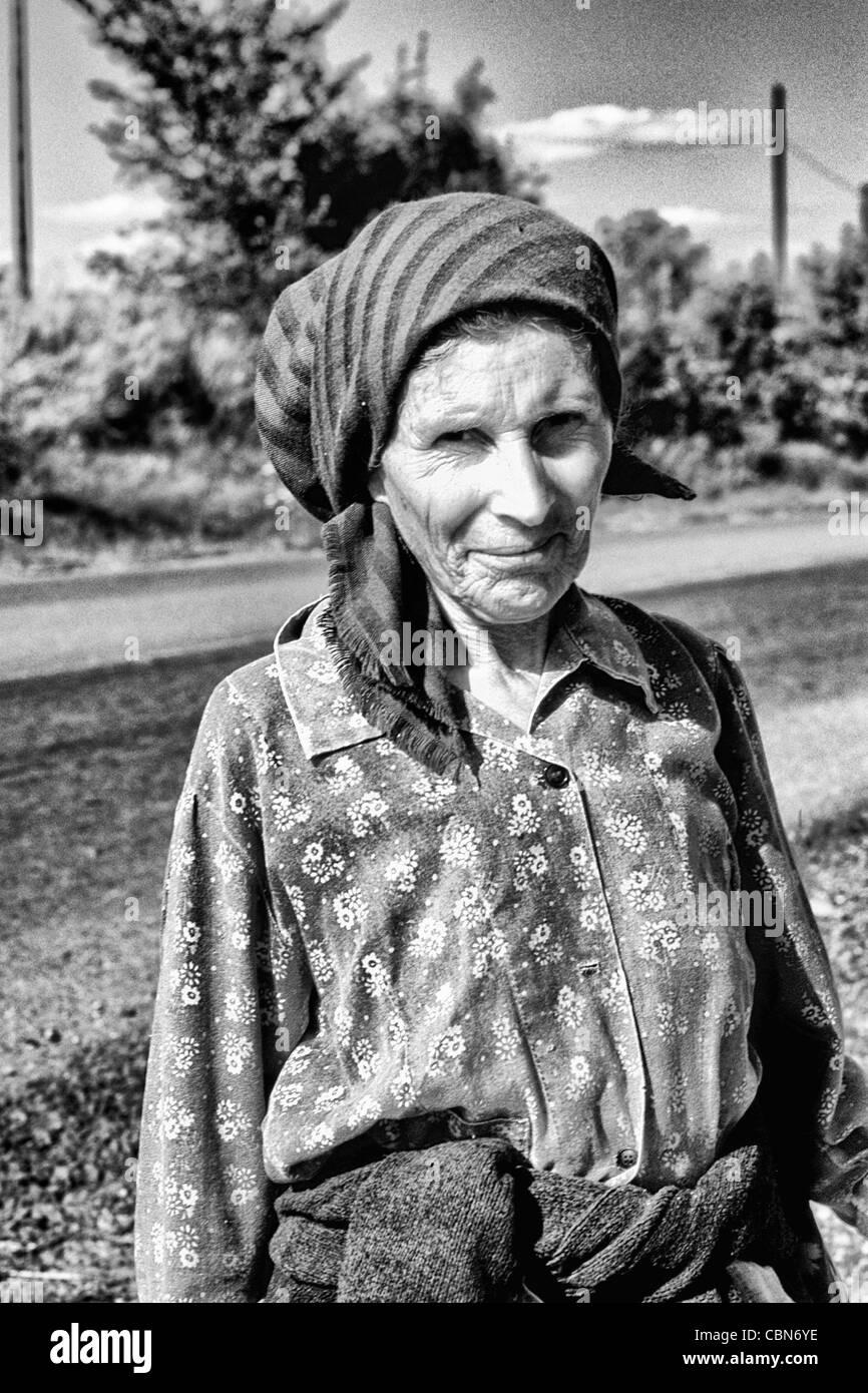 Albania close up of woman outside Tirana Albania  - Stock Image