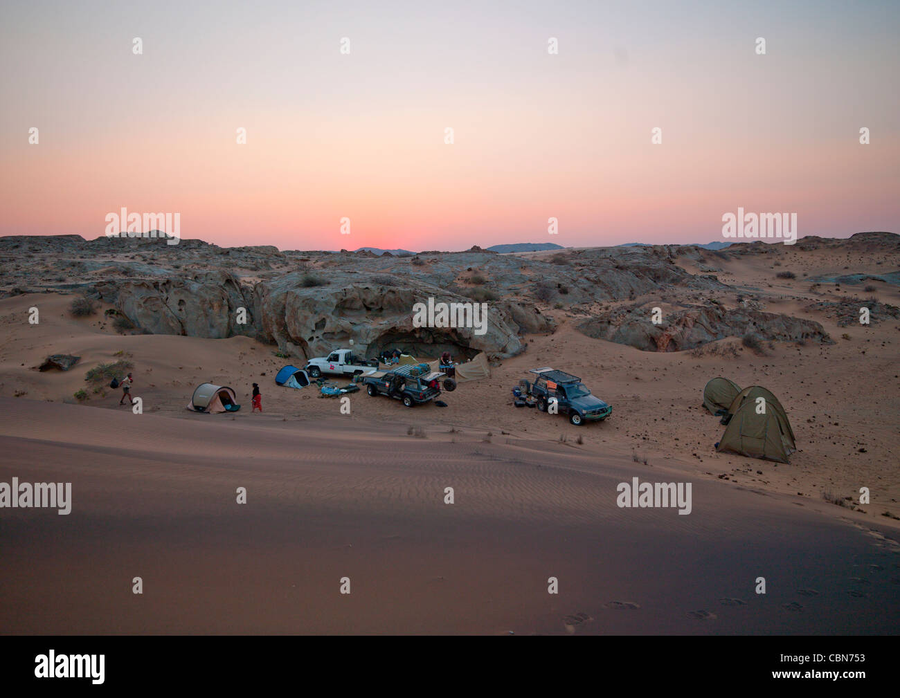 Tourists On Camp In The Namib Desert For The Night, Iona National Park, Angola Stock Photo