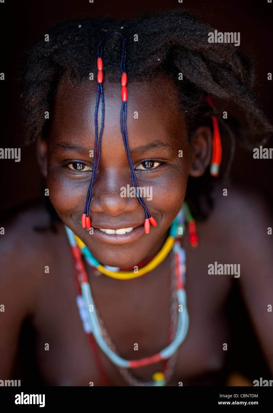 Mudimba Girl With Plaits In Front Of The Face Called Misses Fina, Angola - Stock Image