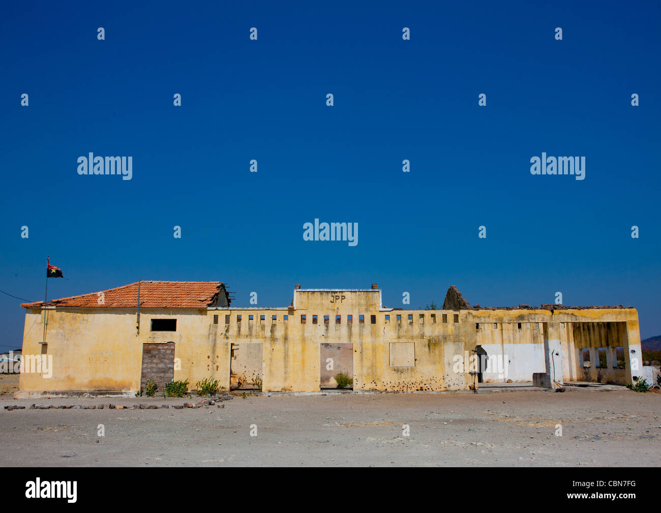 Ruins Of The Village Of Chitado After The Civil War, Angola - Stock Image