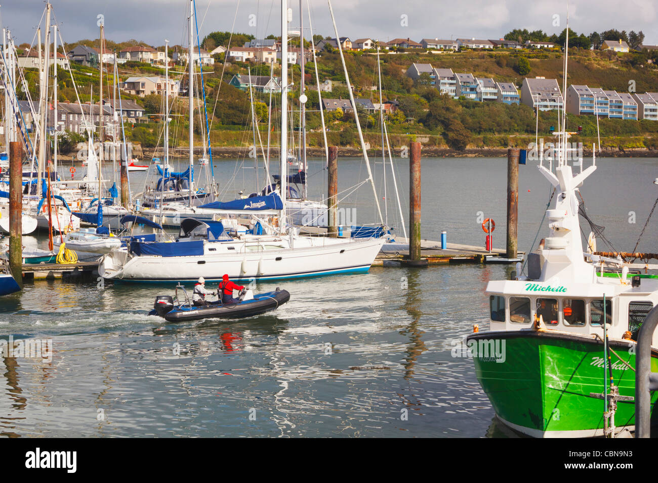 Zodiac leaving harbour at Kinsale, County Cork, Republic of Ireland. - Stock Image