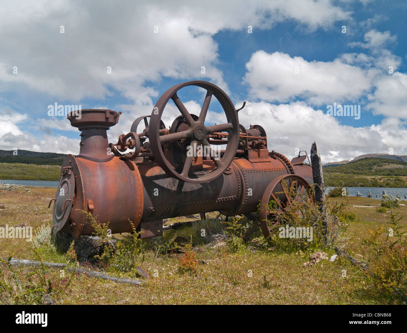 OLYMPUS DIGITAL CAMERA Old steam machine, used on a patagonic sawmill - Stock Image