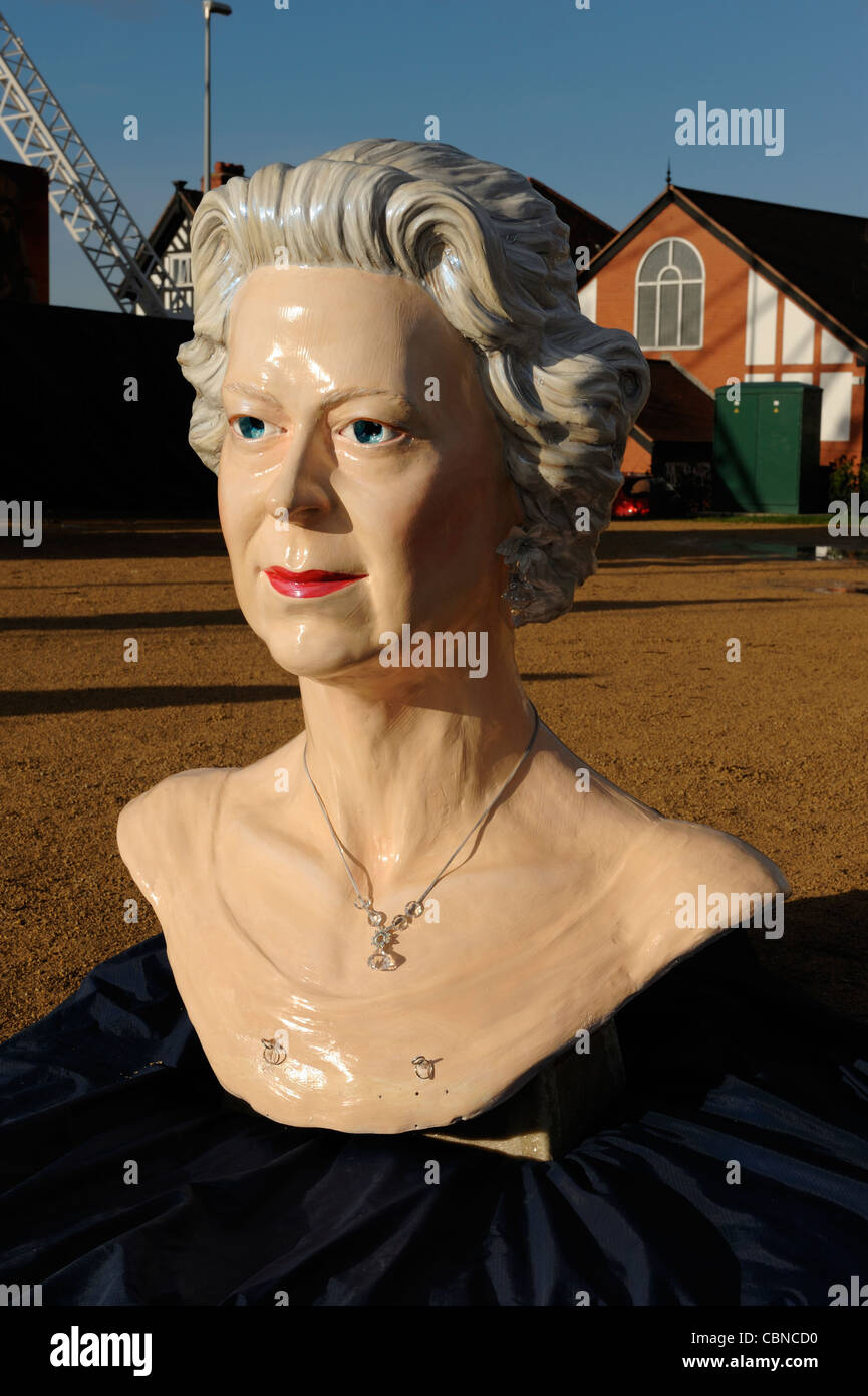 A giant statue of Queen Elizabeth which has been created for her Diamond Jubilee year 2012 - Stock Image