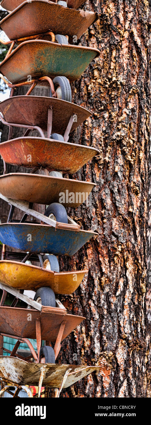 Stacked Wheelbarrows, Cle Elum, Washington - Stock Image