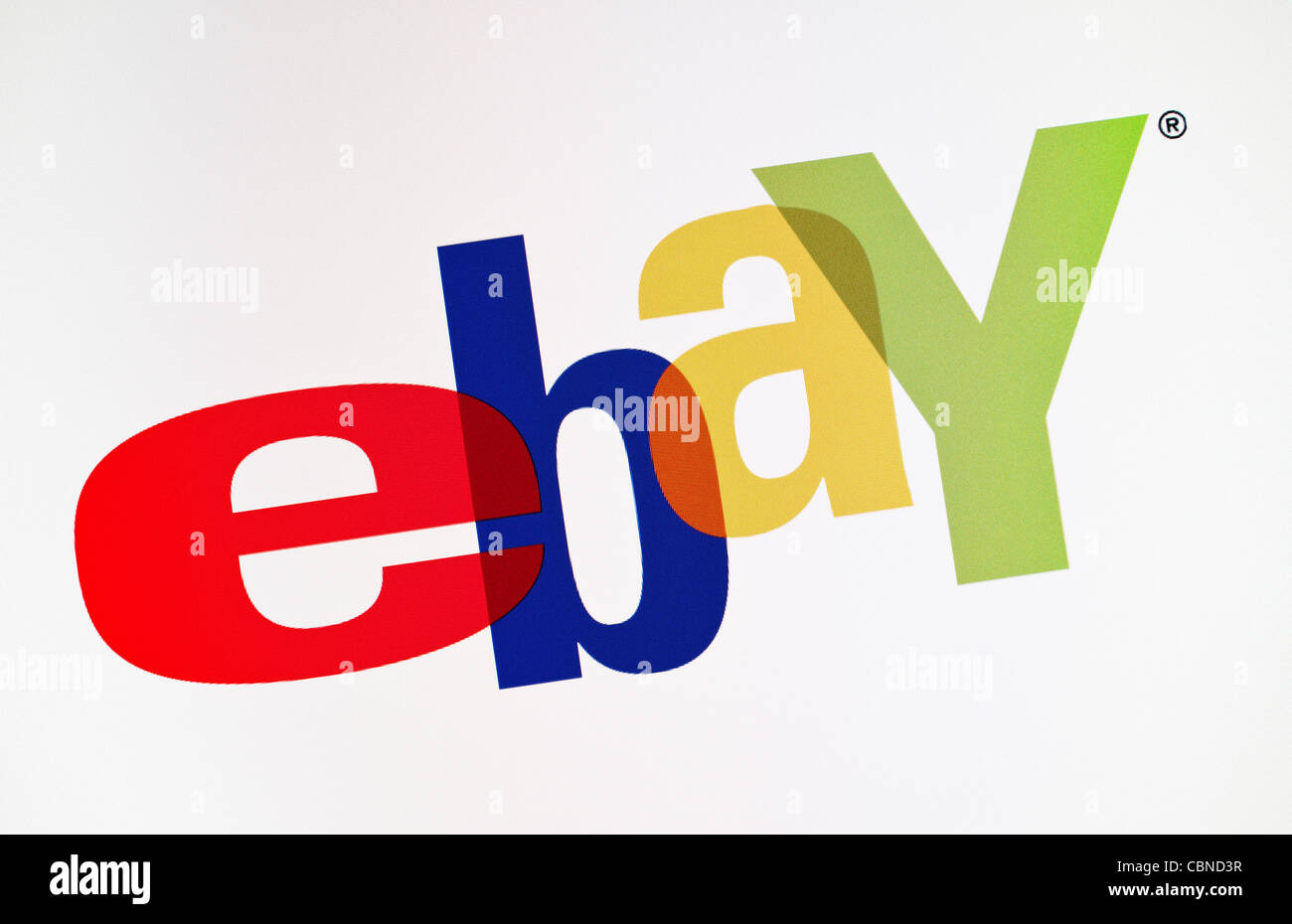 Close-up view of eBay logotype on a monitor screen. - Stock Image
