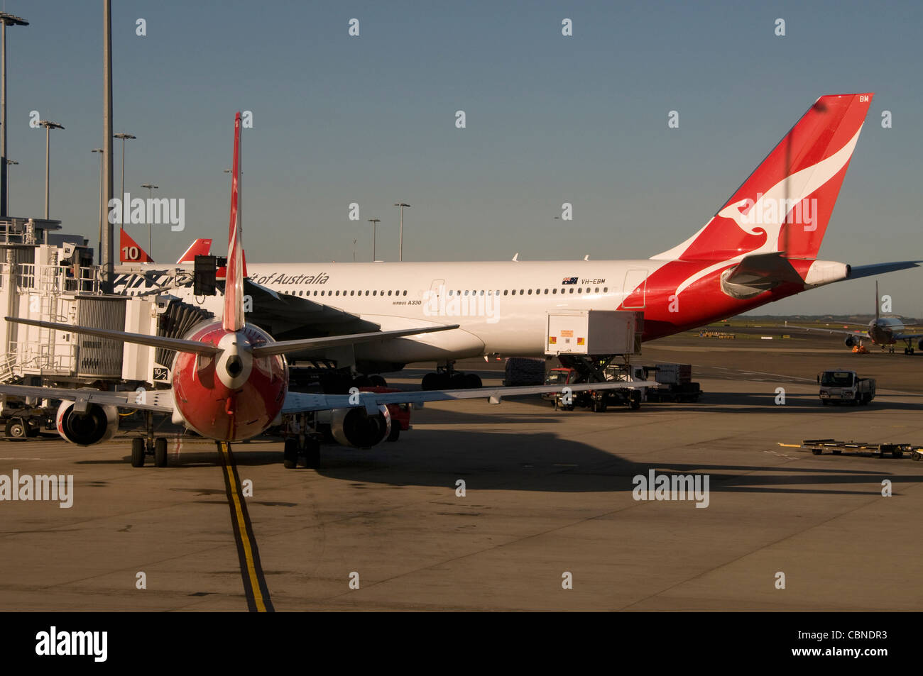 Qantas Aircraft at the domestic flight terminal at Sydney (Kingsford Smith) airport near Sydney in New South Wales, - Stock Image