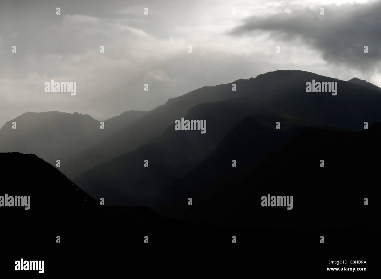 The Llechog Ridge and the Snowdon massif Snowdonia Stock Photo