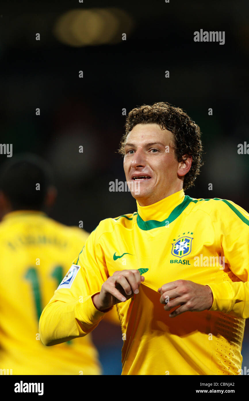 Elano of Brazil celebrates after scoring a goal against North Korea during a 2010 FIFA World Cup match at Ellis - Stock Image