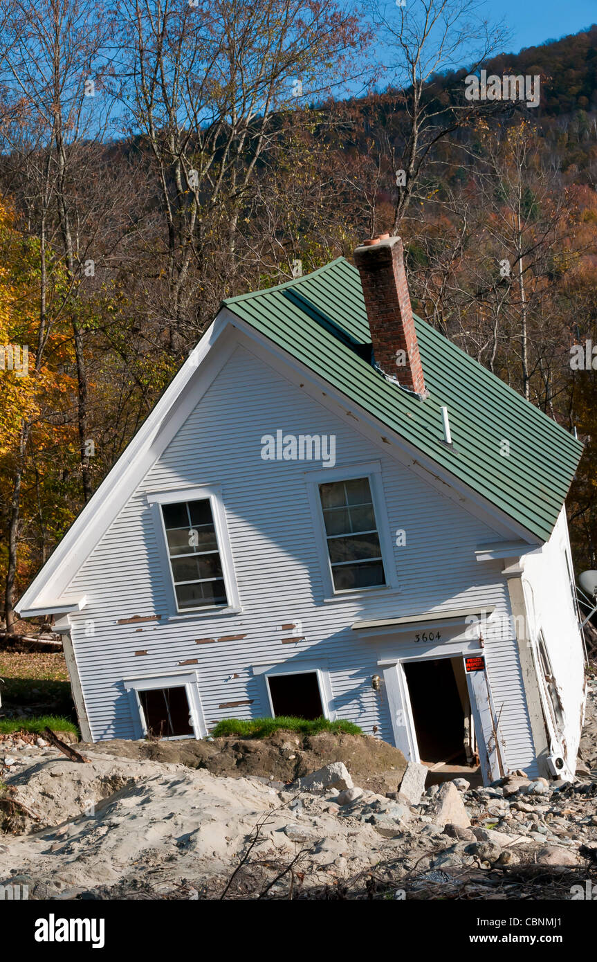 Destruction in Vermont cause by flooding following Tropical hurricane Irene - Stock Image