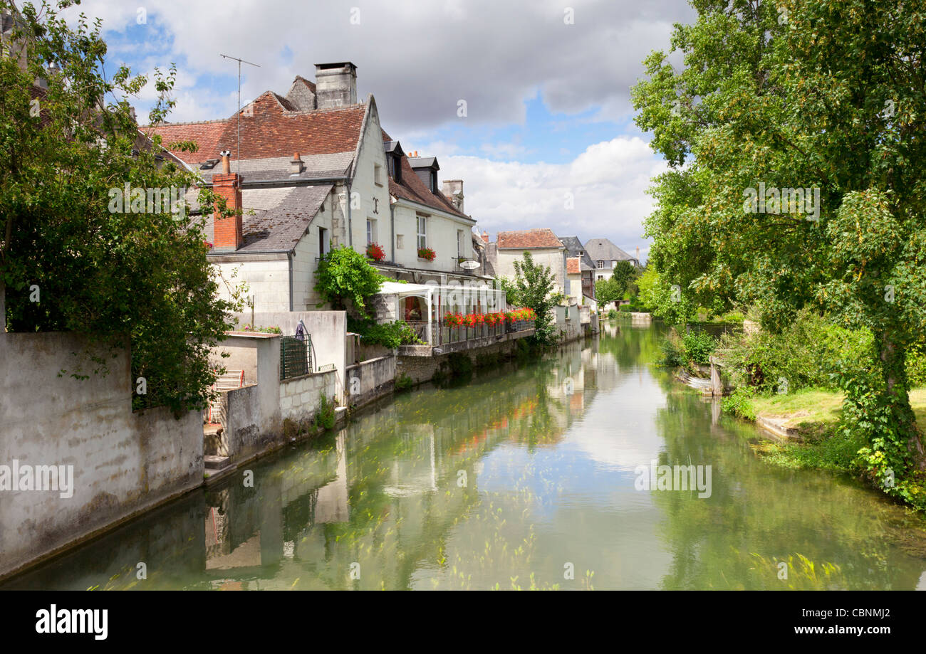 The picturesque town of Loches, on the banks of the Indre River, Loire Valley, France. - Stock Image