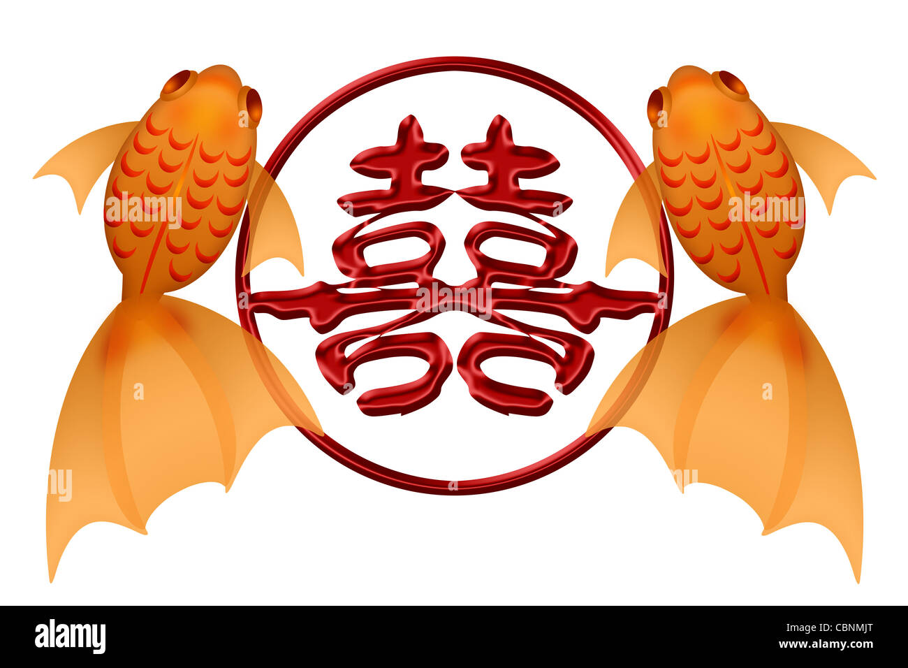 Goldfish Pair With Double Happiness Chinese Symbol In Eternity