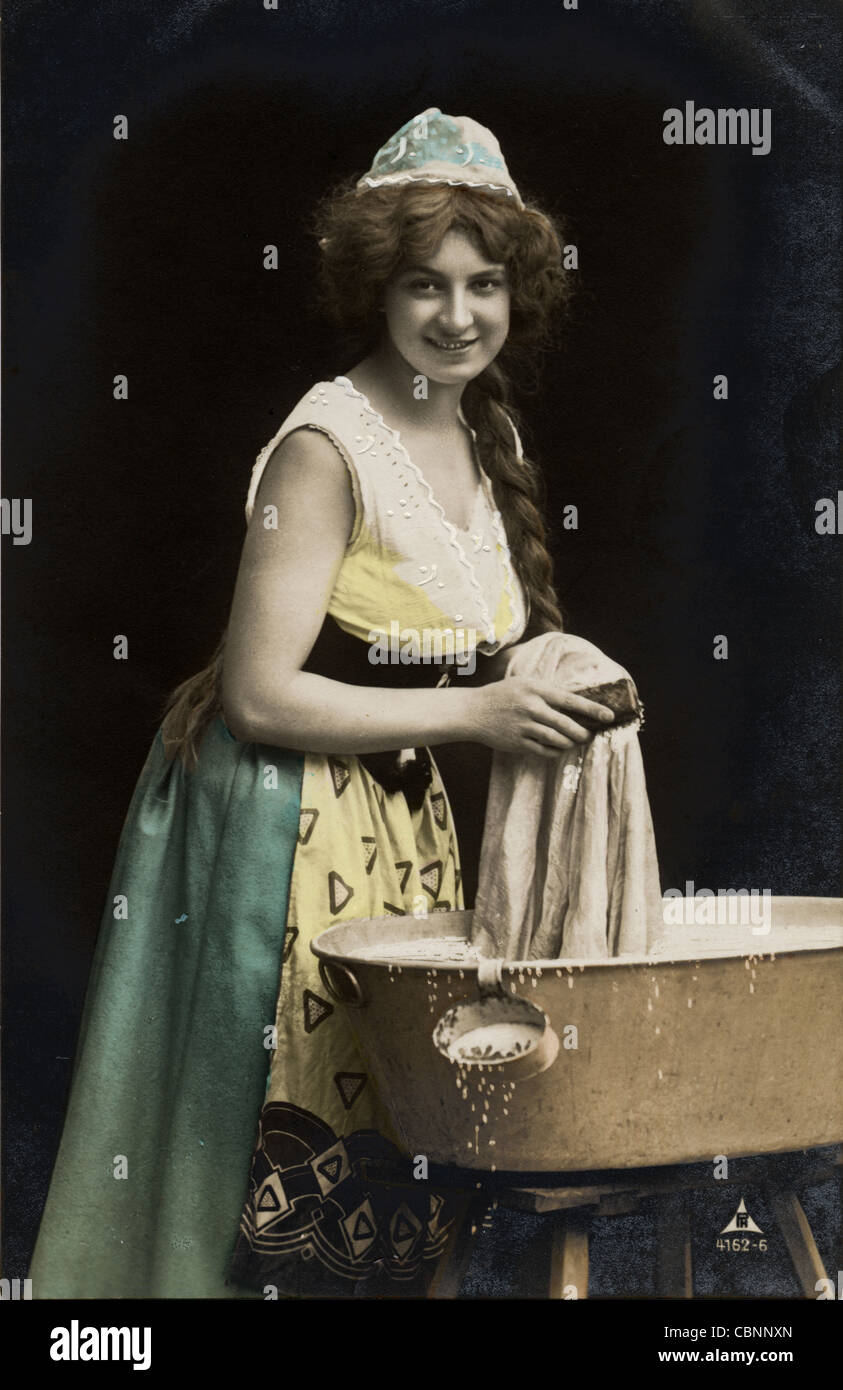 European Peasant Washer Woman - Stock Image