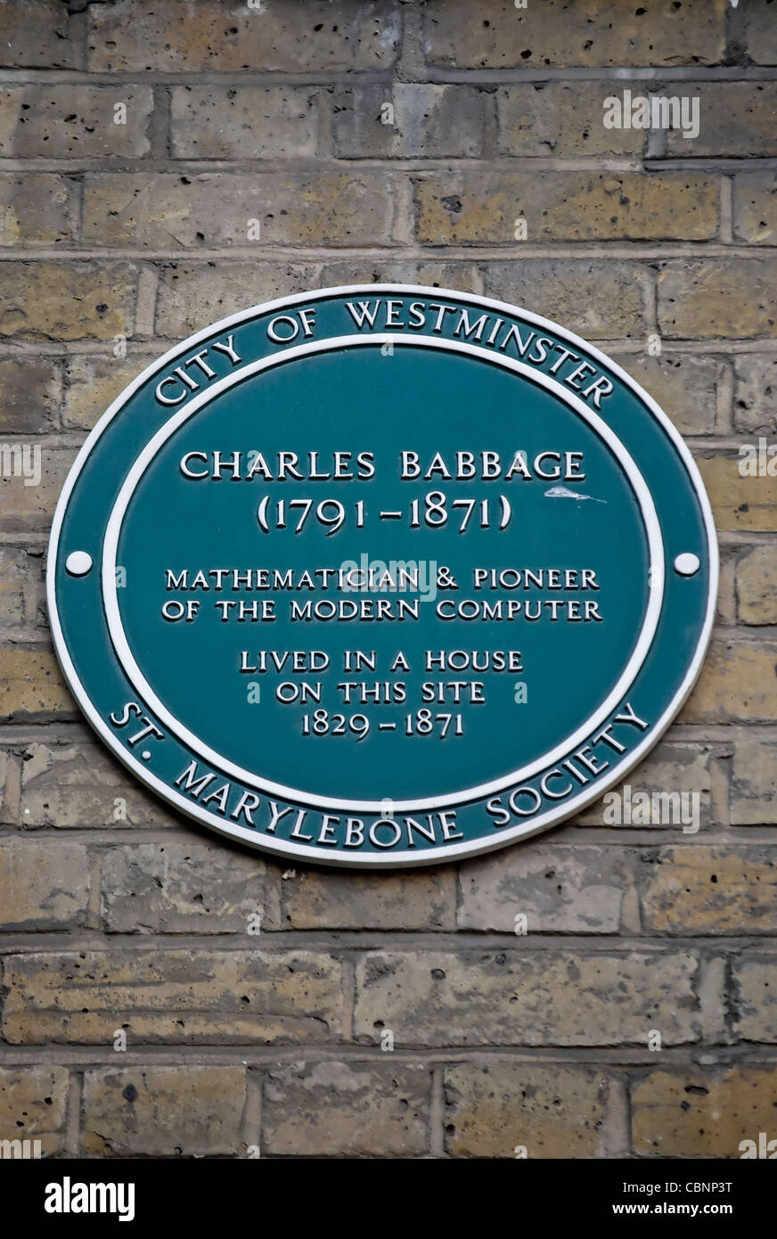city of westminster plaque marking the site of a home of charles babbage, mathematician and computer pioneer, london, - Stock Image