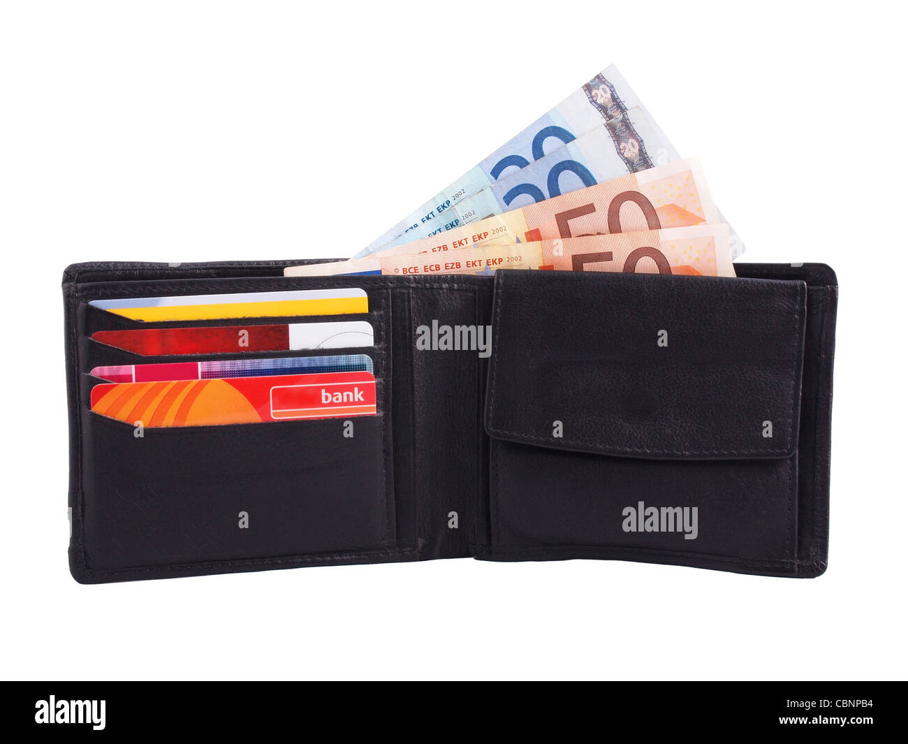 wallet with cash (euros) and cards - Stock Image