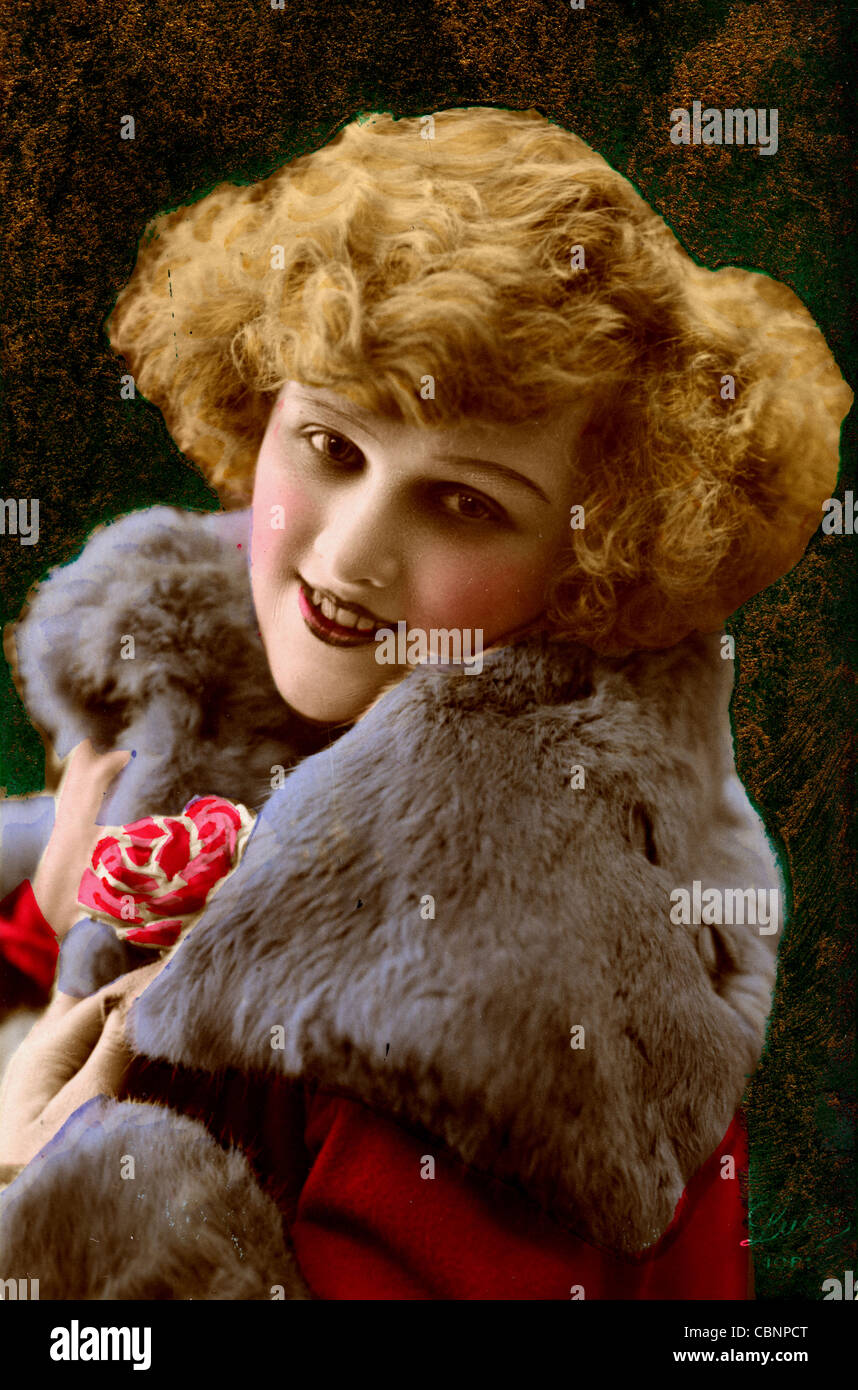 Jazz Age Beauty in Fur Trimmed Coat - Stock Image