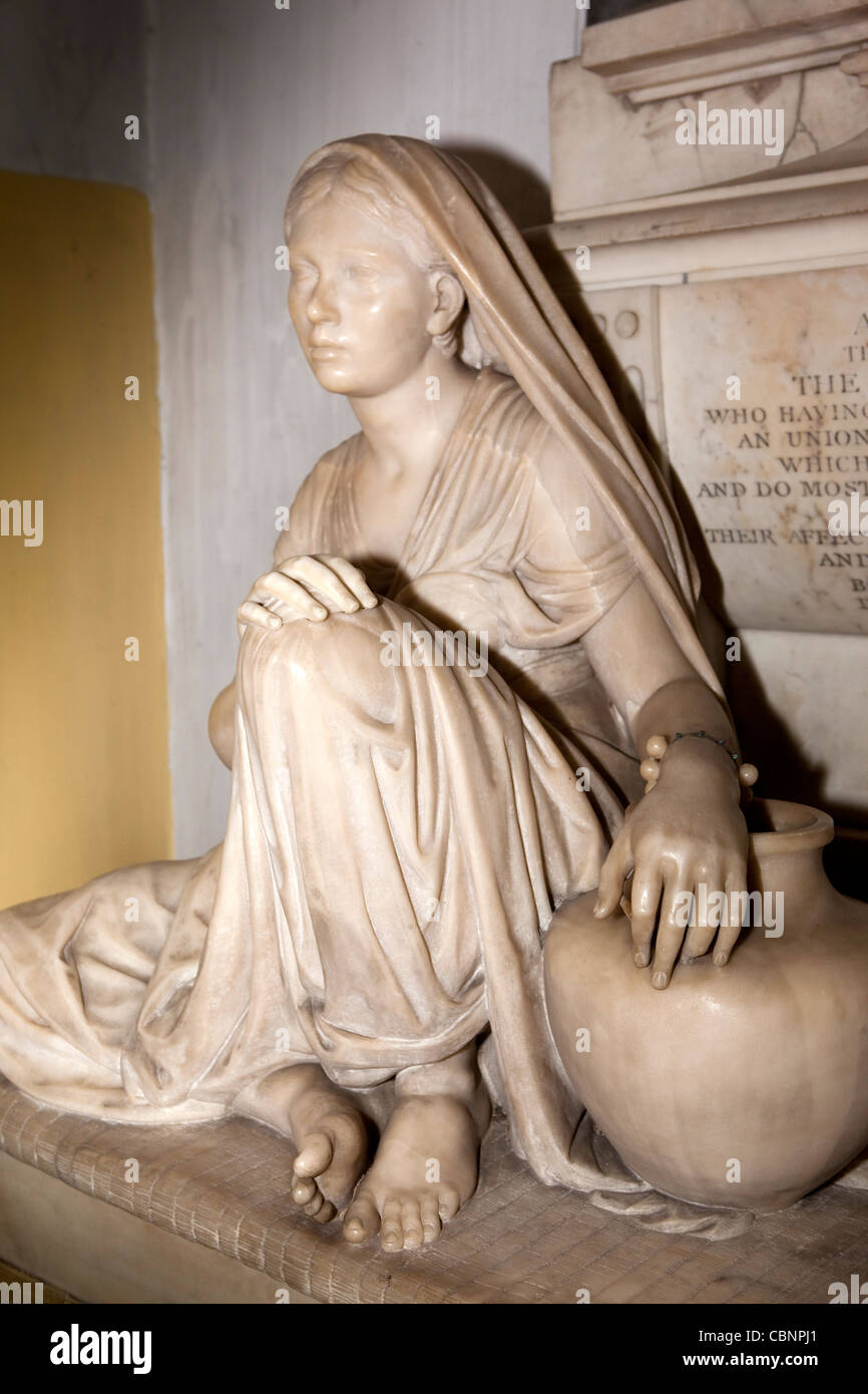 India, West Bengal, Kolkata, St Mary's Church, Alexander Colvin memorial, sculpture of poor Indian woman - Stock Image