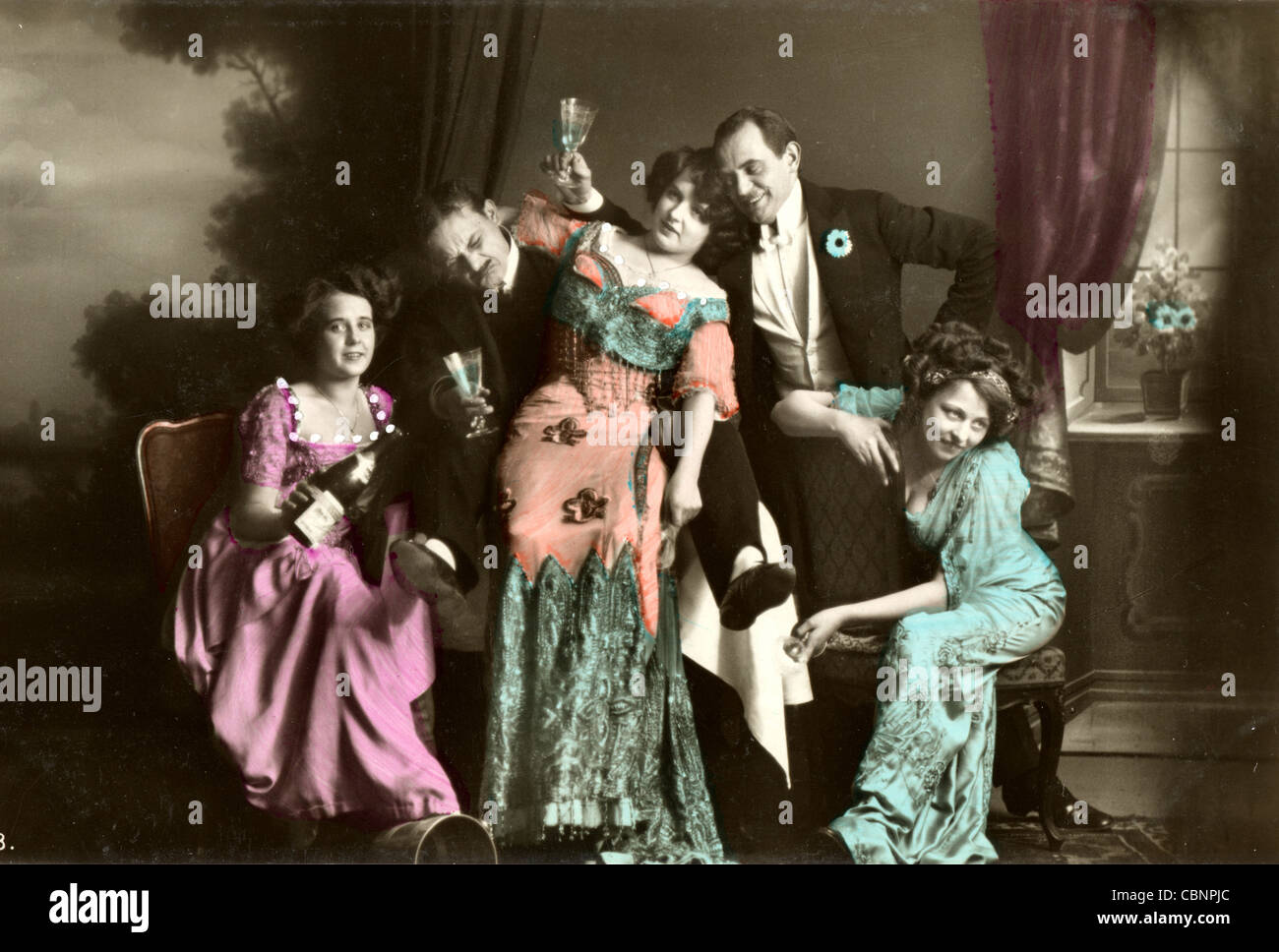 Five Wild & Crazy Society Partygoers - Stock Image