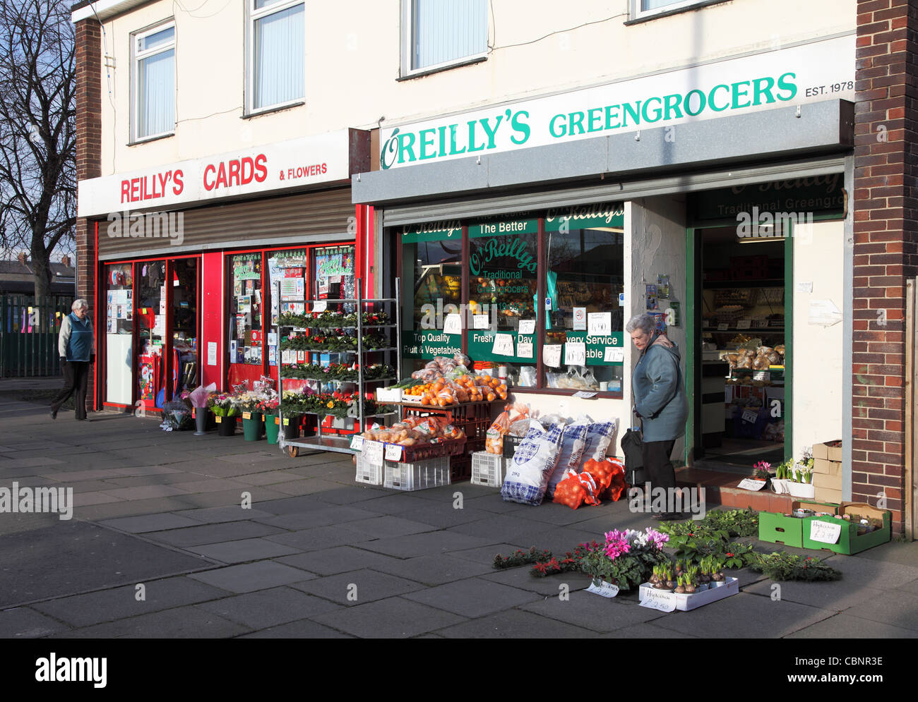 Reilly's greengrocers and card shops, Concord, Washington, north east England - Stock Image