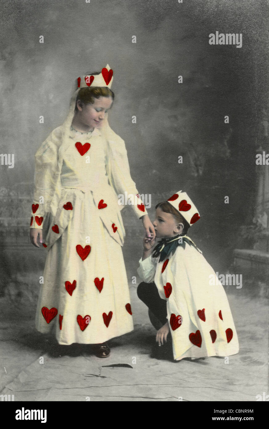 Little Valentine King Kisses the Hand of Valentine Queen - Stock Image