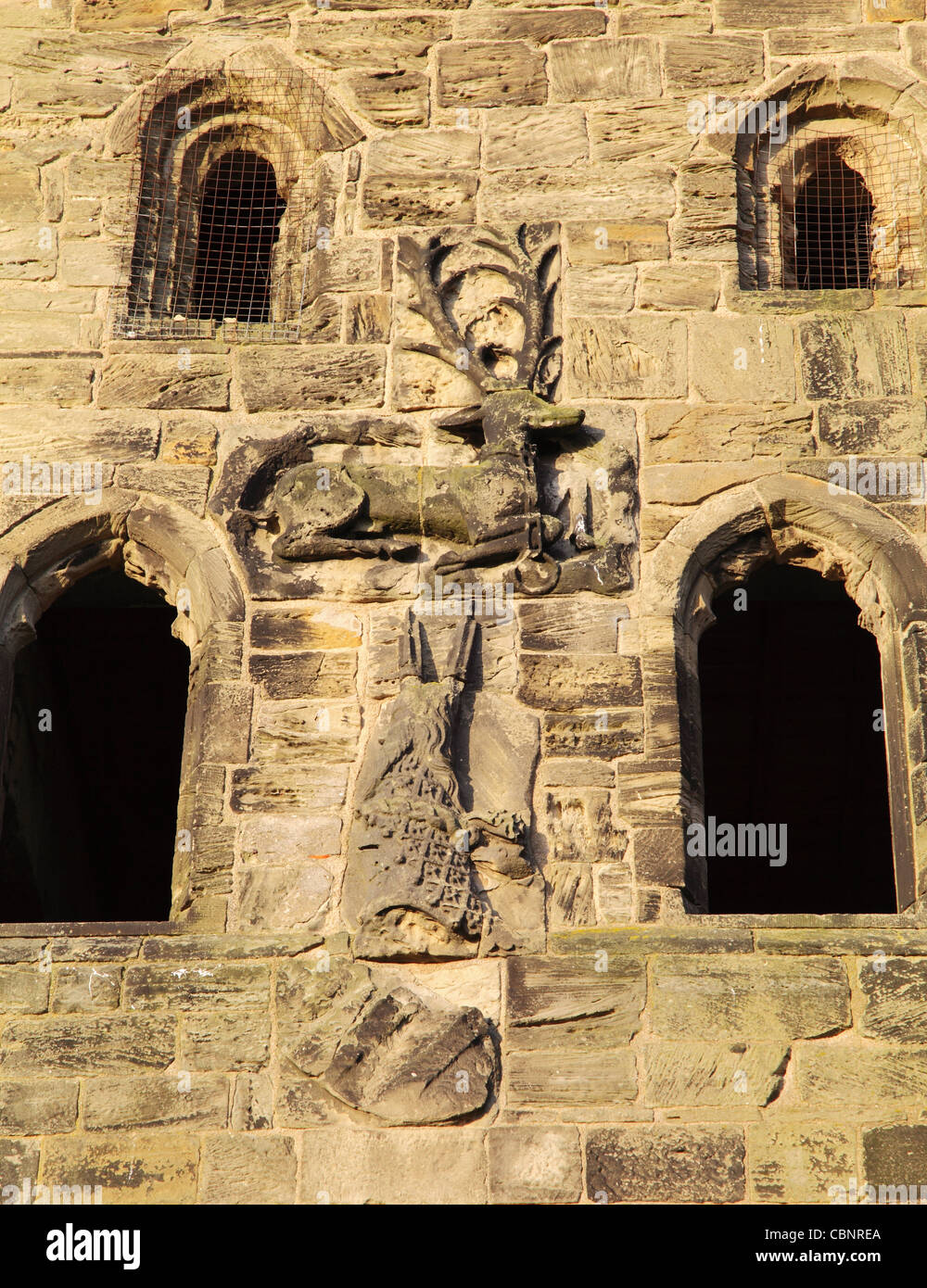The White Hart symbol or badge of Richard II seen on the east facade of Hylton Castle Sunderland, North East England - Stock Image