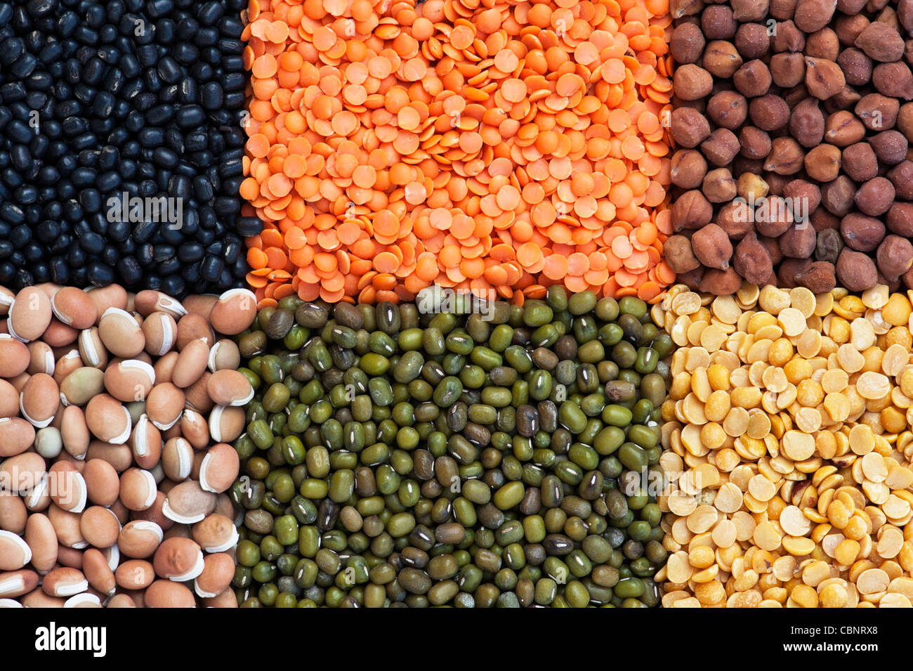 Pulses, seeds, bean and lentil pattern Stock Photo: 41661712