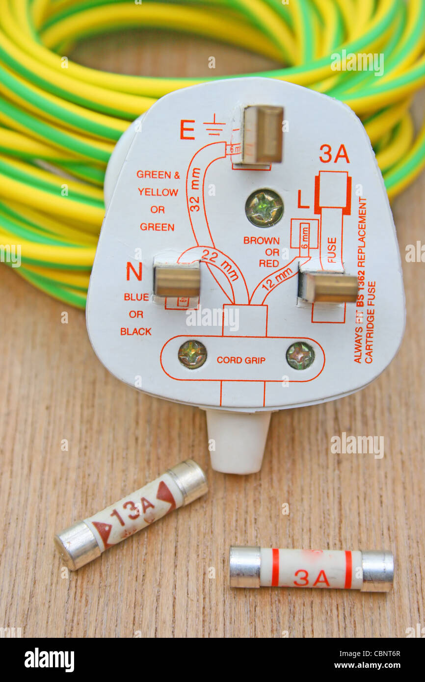 Wiring Diagram Stock Photos Images Alamy Electrical Plug Three Pin With A And Fuses Earth Wire Sleeving